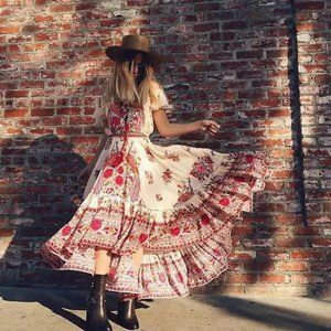BOHO Off Shoulder Floral Print Maxi Gypsy Dress